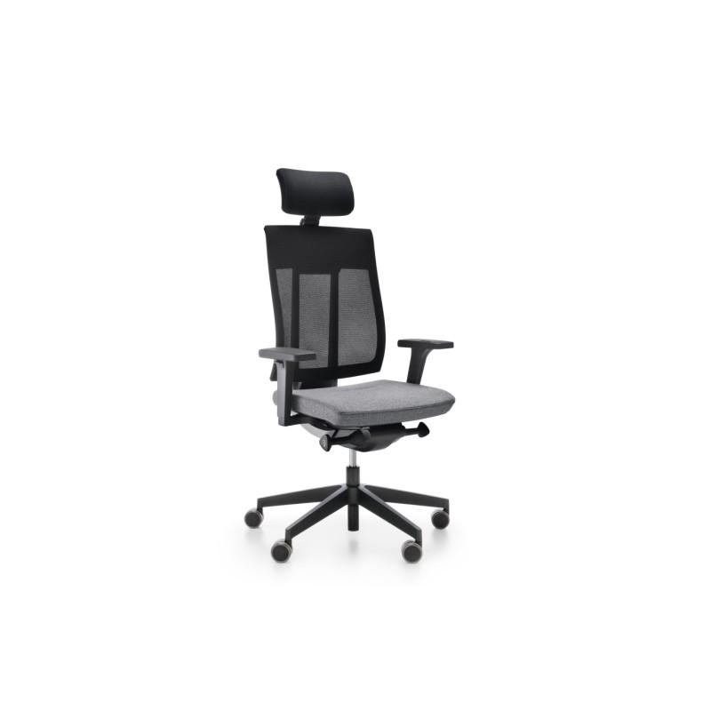 Fotel Xenon Net z zagłówkiem to ergonomiczne krzesło biurowe